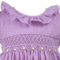 Remember Nguyen lavender checked smocked dress with yellow rosebuds,lavender…