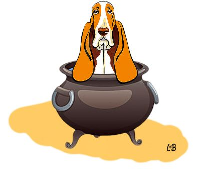 De hond in de pot vinden. Te laat zijn voor het eten (alles is op).