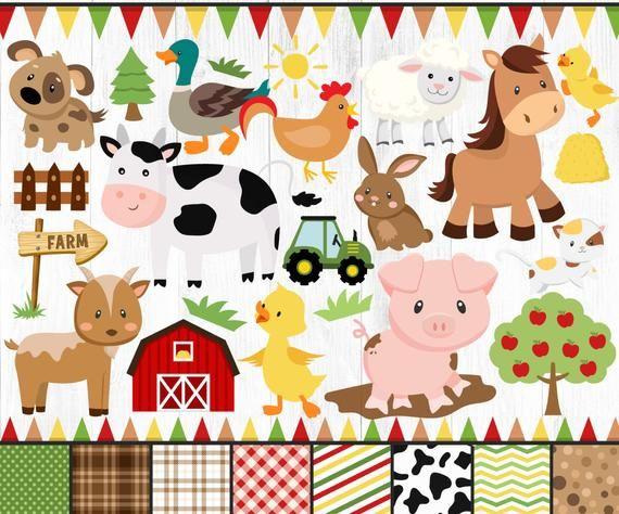 Farm Animals Clipart Farm Clipart Animals Clipart Cute Farm Etsy In 2021 Animal Clipart Cute Animal Clipart Digital Stamps