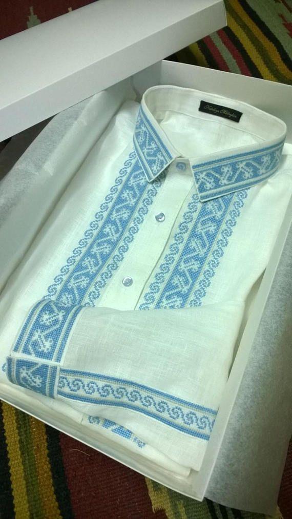 Men's embroidered shirt. Ukrainian vyshyvanka. 100% linen.