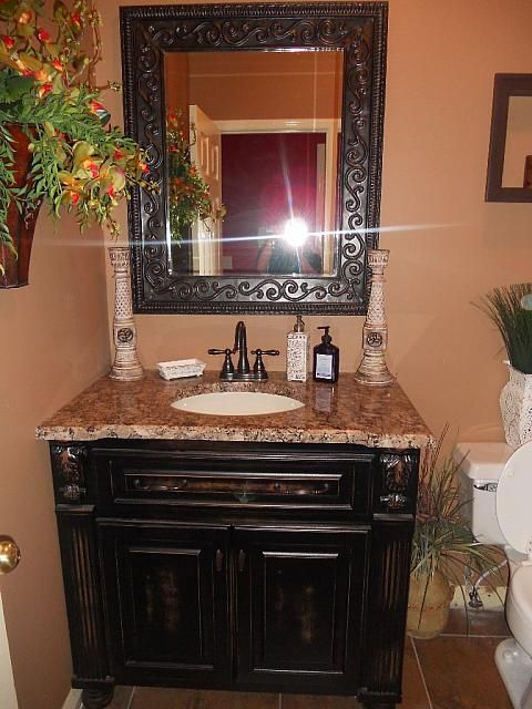 Beautiful bathroom vanity & mirror!