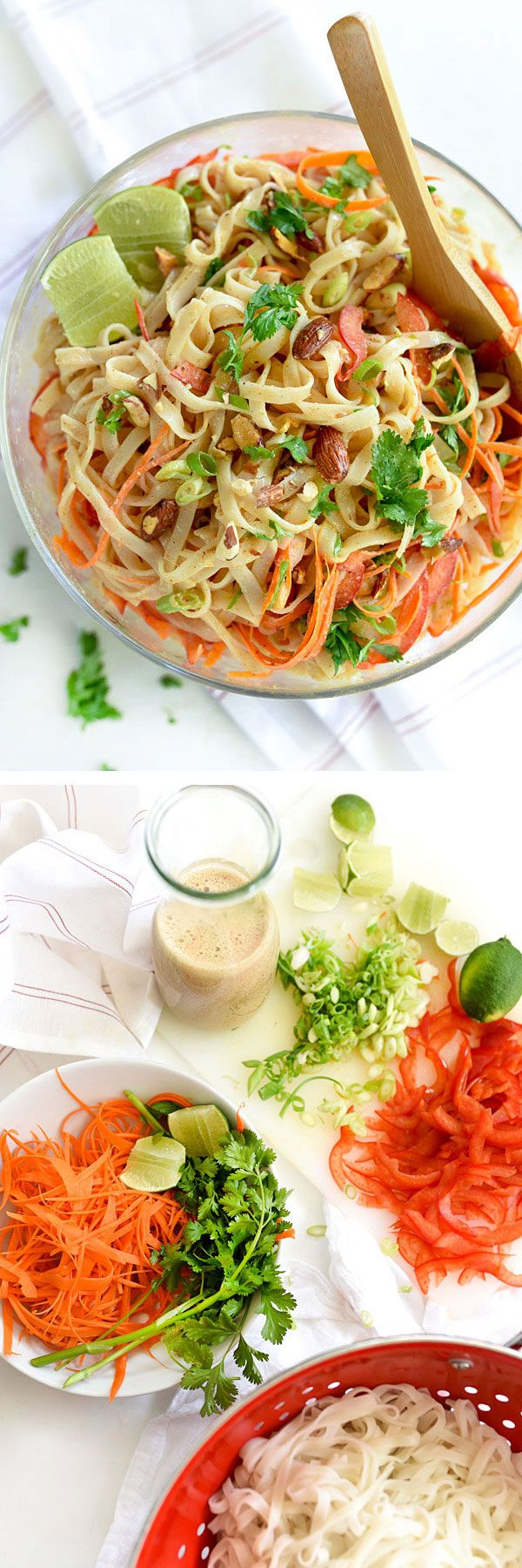 I shook things up by subbing Almond Breeze Almondmilk Coconutmilk, clocking in at 60 calories per cup, for canned coconut milk that weighs in at 360 calories per cup in the dressing for this cold noodle salad. My stretchy pants are thanking me.