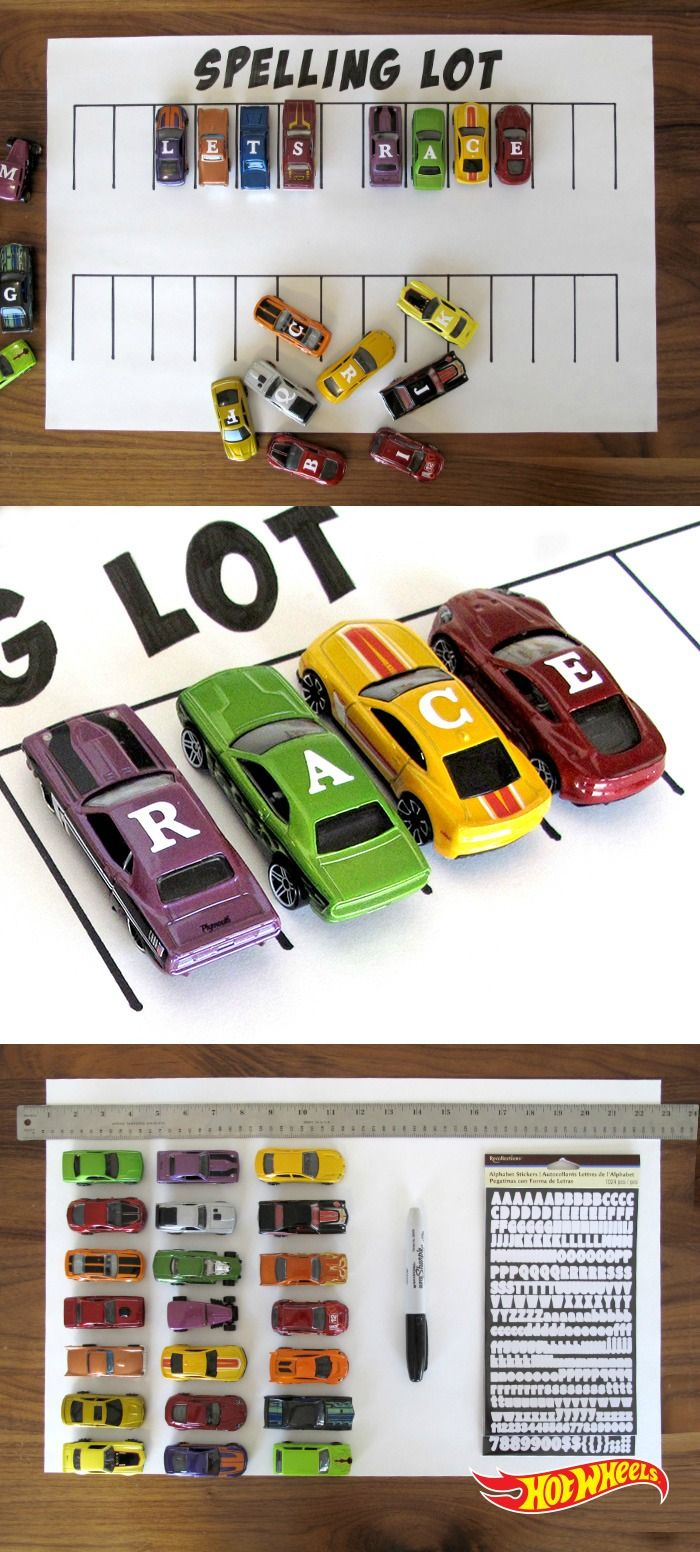 Teach kids how to make words with Hot Wheels. Just fix alphabet stickers from the local crafts store to your car, make a grid and you're ready to go.