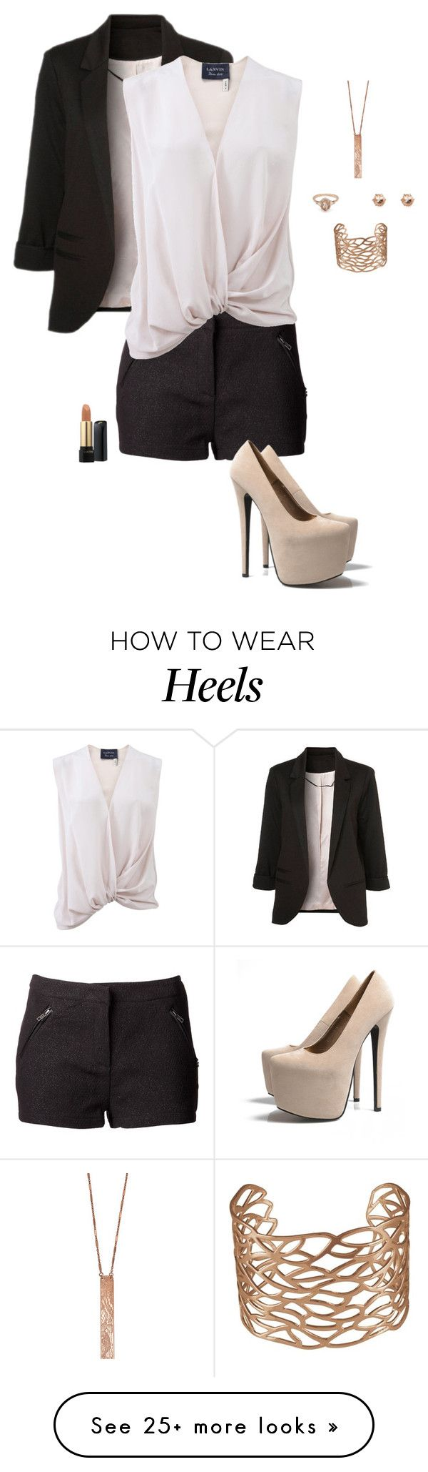 """""""Nude Heels"""" by gone-girl on Polyvore featuring WithChic, Maison Scotch, Lanvin, BEA, River Island, Clara Jasmine and AX Paris"""