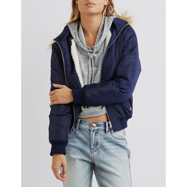 Charlotte Russe Faux Fur-Trim Hooded Bomber Jacket ($43) ❤ liked on Polyvore featuring outerwear, jackets, navy, zip bomber jacket, hooded jacket, navy blue bomber jacket, fleece-lined jackets and hooded bomber jacket