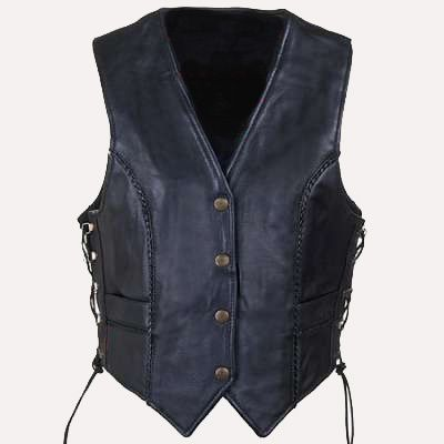 Womens Leather Vest with Braid detail