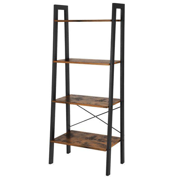 Parikh 4 Tier Ladder Bookcase Wooden Ladder Shelf Metal Accent