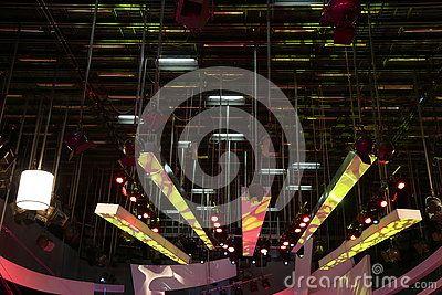 Grid lights inside the TV studio - lighting installation.