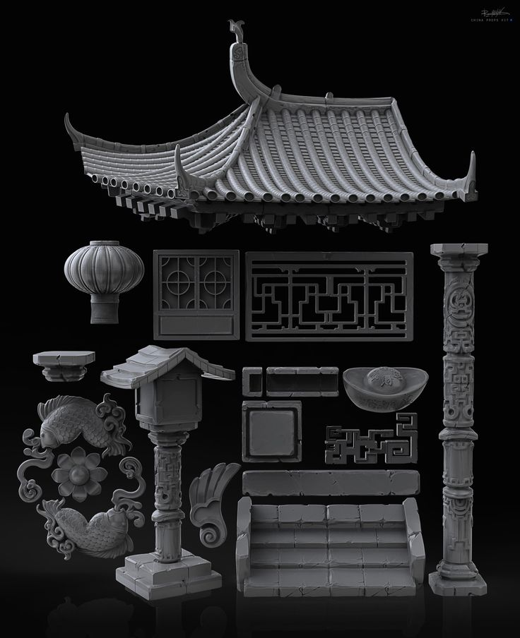 guys I have prepared a set of models in the Chinese style you can download here https://gumroad.com/romanyuk Components they contain for characters, objects to Chinese architecture,  Chinese symbols in good quality. Elements of rock crystals and runes.  53 object I collected for use in game projects and concept works. my Chinese elements perfectly suited for casual games  On this page you can see the process of creating a set and my example application objects…