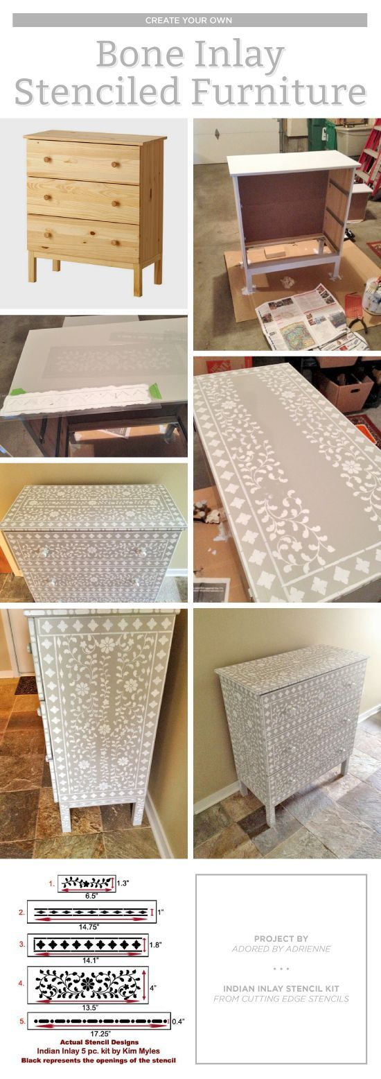 Cutting Edge Stencils shares DIY stenciled dresser makeover using the Indian Inlay Stencil kit for a bone inlay look. http://www.cuttingedgestencils.com/indian-inlay-stencil-furniture.html
