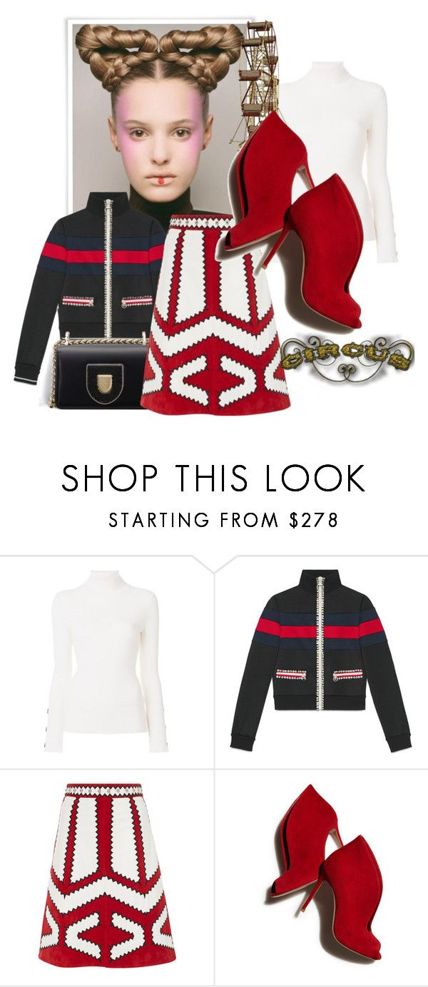 """""""Just A Touch"""" by the-house-of-kasin ❤ liked on Polyvore featuring See by Chloé, Gucci, RED Valentino, Gianvito Rossi and circus"""