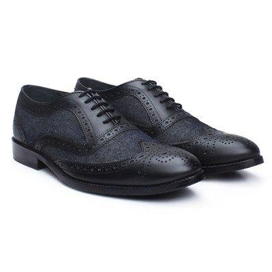 Buy #Brune #BlackLeather / #CharcoalGray Denim #BrogueShoes Online at Best Price in India @ #voganow