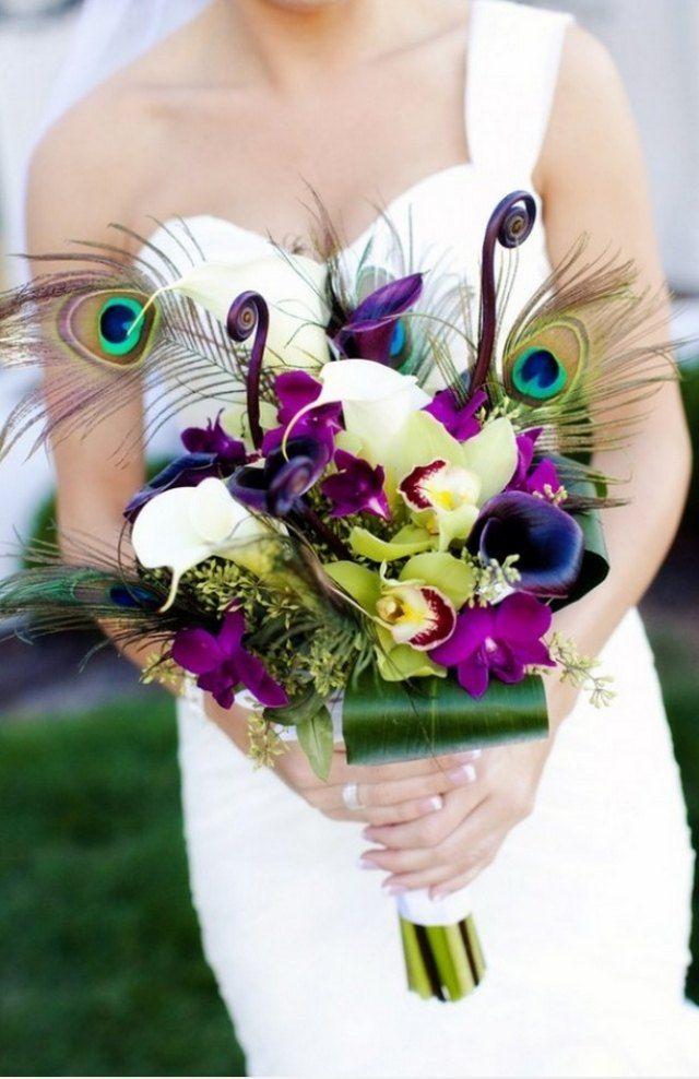 ausgefallene Brautstrauß-ideen Orchideen-Pfauen Feder-modern