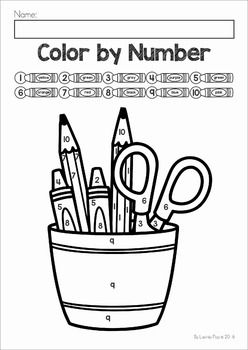 FREE Back to School Color by Number worksheets Math