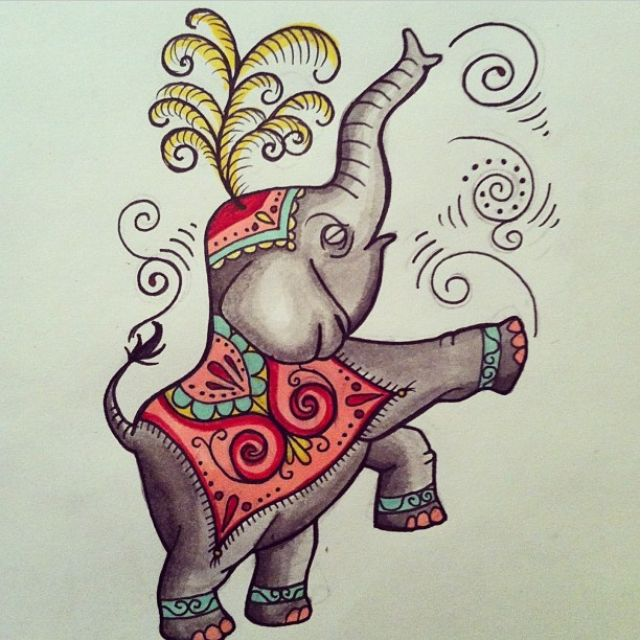 circus elephant drawing