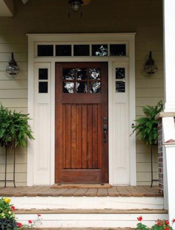 Custom Made 6 Lite Knotty Alder Exterior Entry Door With Matching  Sidelights. X Craftsman 6 Lite EXTERIOR WOOD ENTRY DOOR With Sidelights.