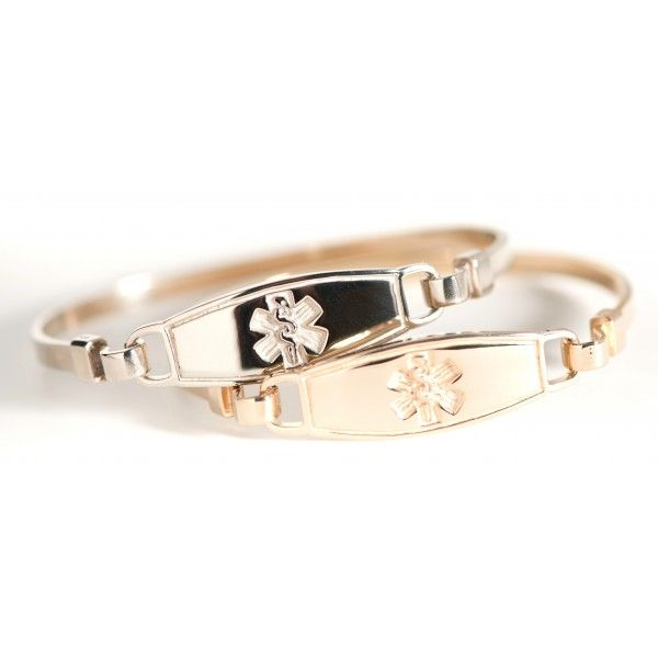 The 14k medical alert gold bracelets are truly a simple yet elegant choice! The bangle gold medical bracelets are one of the first, and remains to be one of the most popular N-Style ID designs. Our Contempo medical tag is permanently attached to the bangle wire on one side, while the other side is free to hook on and off.  Engraving included!