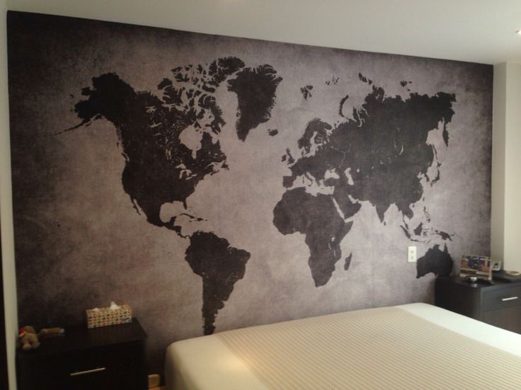 Mural de mapa en blanco y negro