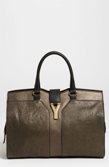 Yves Saint Laurent \u0026#39;Chyc - Medium\u0026#39; Metallic Leather Satchel ...