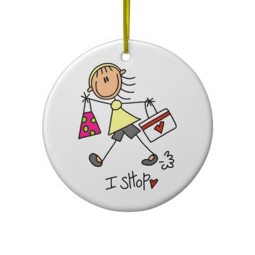 Shopping Stick Figure Christmas Ornaments