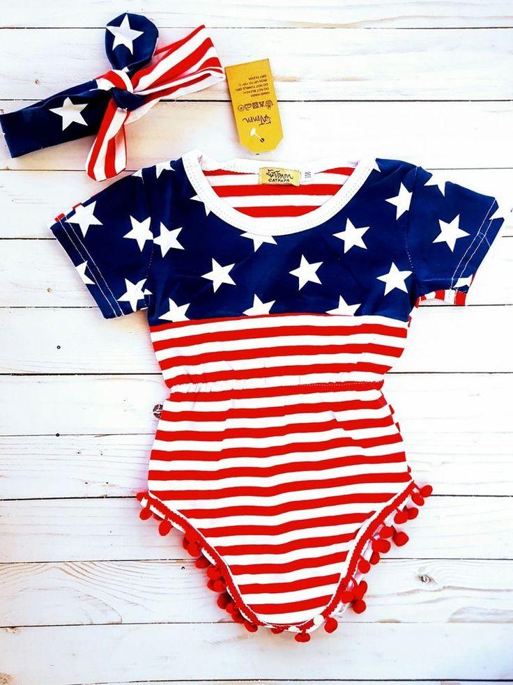 Toddler 12-18M American Flag patriotic Pom Pom Romper Headband Set 4th of July  | Clothing, Shoes & Accessories, Baby & Toddler Clothing, Girls' Clothing (Newborn-5T) | eBay!