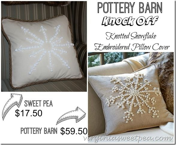 Knockoff Pottery Barn Snowflake Embroidered Pillow - Sweet Pea