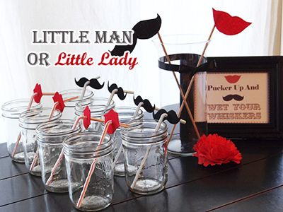 lips and mustache straw decorations for little man or little lady gender reveal party COULD MAKE THESE AND PINK AND BLUE