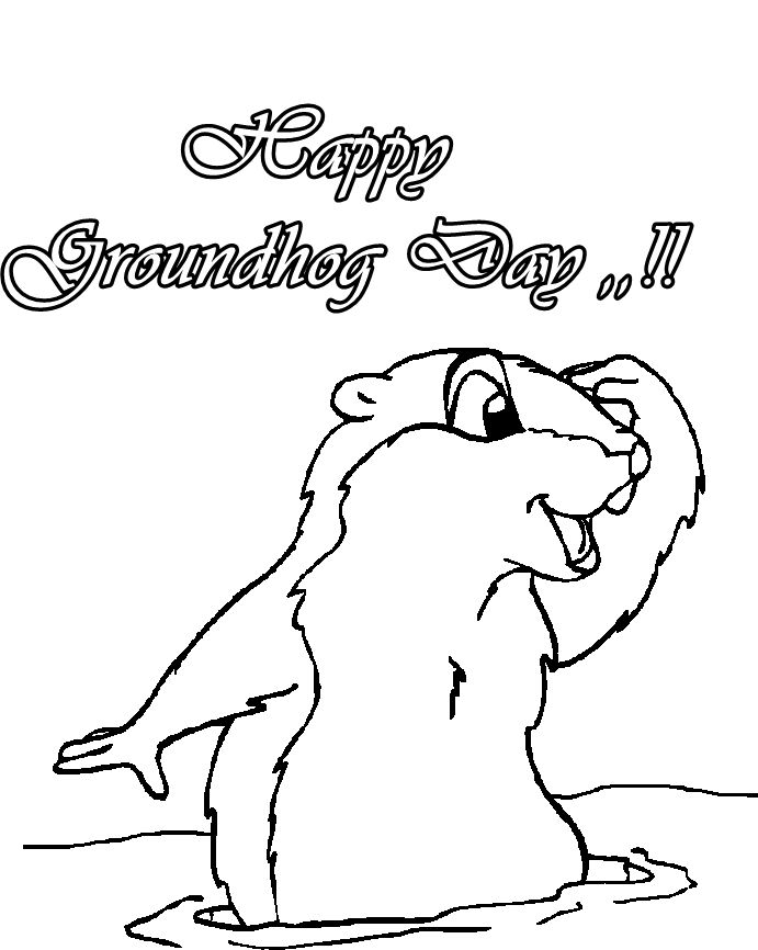 Groundhog day printable coloring pages for Groundhog coloring page