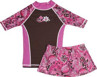 grUVywear UV Sun Protective (UPF 50+) Girls Short Sleeve Pink Paisley Shirt with Matching Skirt - M 7-8. Blocks out 99% of harmful UVA & UVB rays. Chemical free, worryfree all day protection, in and out of the water. Lightweight, quick drying and comfortable. Made in the USA with the highest quality standards. Lycra nylon blend moves and stretches while protecting your child.