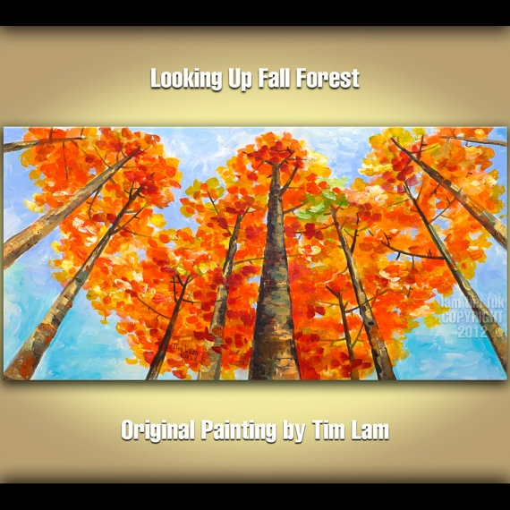 Abstract Landscape Painting Looking Up Forest Original huge modern acrylic on canvas by Tim Lam 48x24x1.3     So pretty!