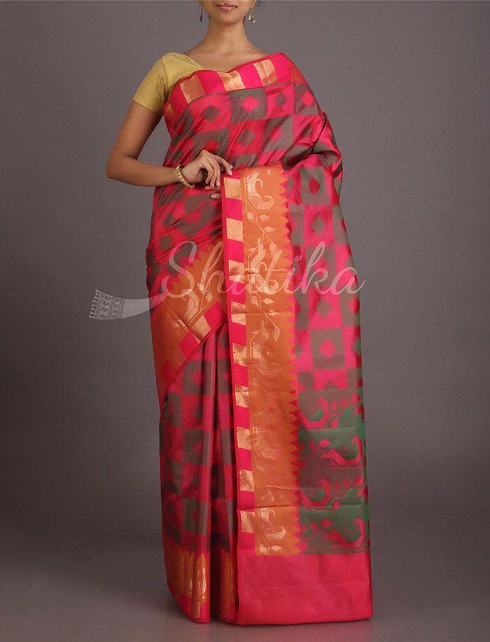 Laaj Diamond- O- Block Pure Banarasi Tussar Silk Saree