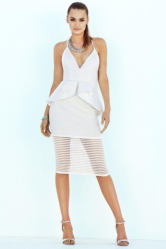 I like this dress...Tempting Fate Ivory Peplum Midi Dress at Lulus.com!