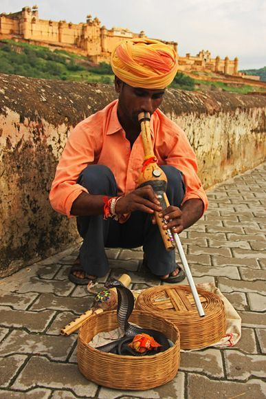 Snake charmer with the Amber Fort as a backdrop, Jaipur, India. Photograph by Peter Edwards, My Shot