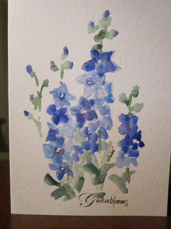 Blue Delphiniums Watercolor Card by gardenblooms on Etsy, $3.50