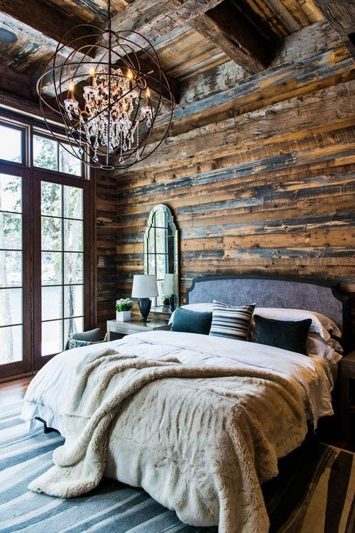 24 Interiors in Cabin Log Style - love the reclaimed wood wall in this rustic…