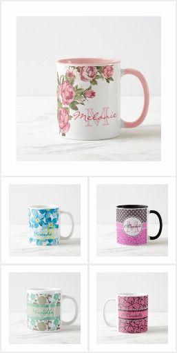#Girly pattern name & #monogram #mugs.