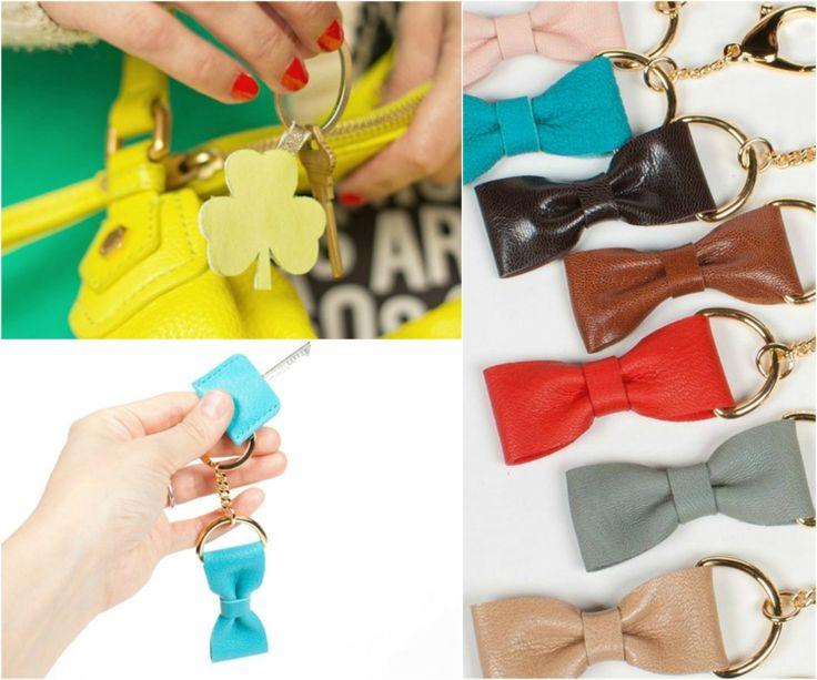 schlüsselanhänger selber machen leder-schleifen-farbig-handtasche-gelb-hand-glücksklee