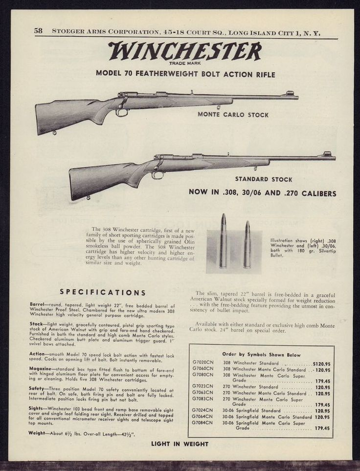 1956 WINCHESTER Model 70 Featherweight Bolt Action Rifle AD w/ specs &…