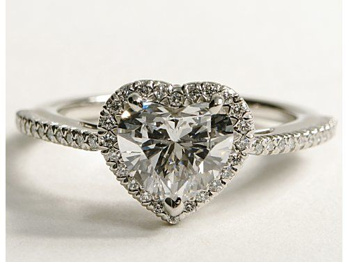 heart shaped halo diamond engagement ring.