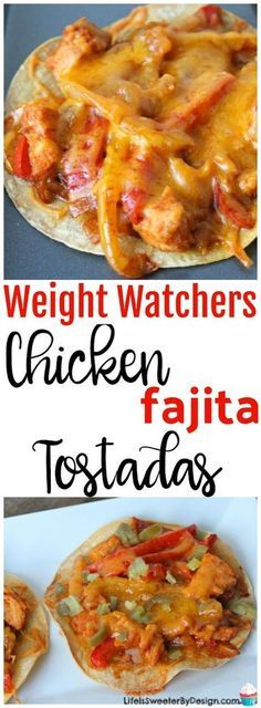 Weight Watchers Baked Chicken Fajita Tostadas are only 5.3 SmartPoints each and make a filling meal. This will become one of your favorite Weight Watchers recipes for sure!
