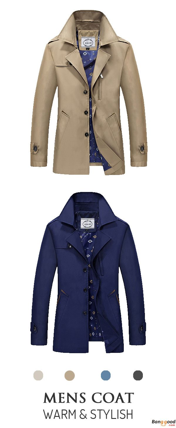 US$36.99 + Free Shipping. Mens Spring Autumn Turn-down Collar Jacket Fashion Casual Business Single-breasted Trench Coat. Material: 100% Polyester. We Never Go Out Of Style.
