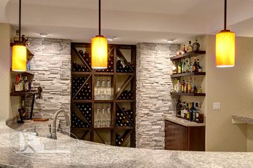 Basement Bar and Wine Rack - contemporary - basement - denver - by Finished Basement Company
