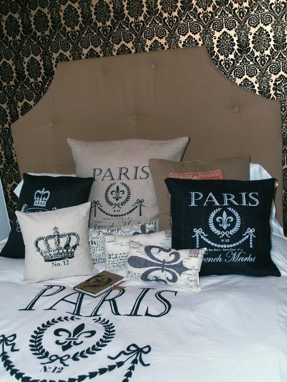 French Market Egyptian Cotton Duvet Cover, Shams with Ornate Fleur De Lis Scroll Work - USD$175