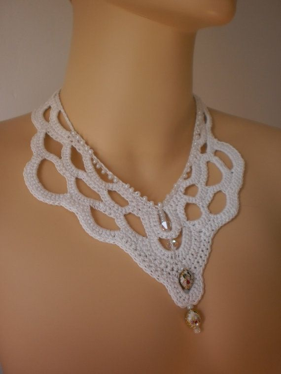 Fall Fashion White Crochet Necklace Crochet Jewelry by levintovich