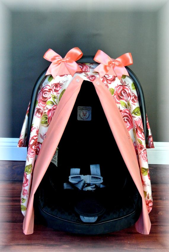 SHABBY CHIC carseat canopy car seat cover coral by JaydenandOlivia I would love something like this but in lavender and pink!