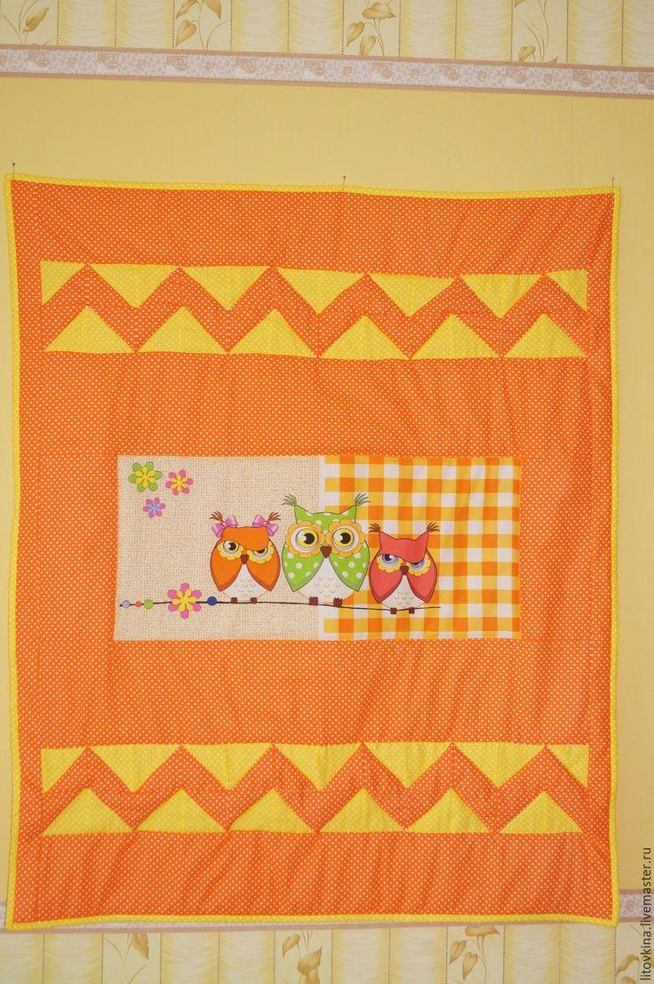 """Купить Лоскутное одеяло """"Оранжевое настроение"""" - оранжевый, хлопок, хлопок 100%, синтепон, горошек, совы"""