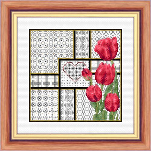 Tulips and Blackwork - Printed Chart