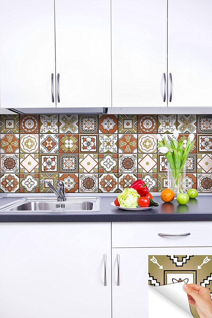 amazoncom backsplash tile stickers 24 pc set authentic traditional talavera tiles stickersl bathroom - Abnehmbare Backsplash Lowes