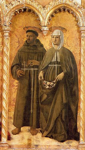 Piero della Francesca - St. Francis and St. Elizabeth; St Elizabeth is depicted with her symboilc attribute: roses.