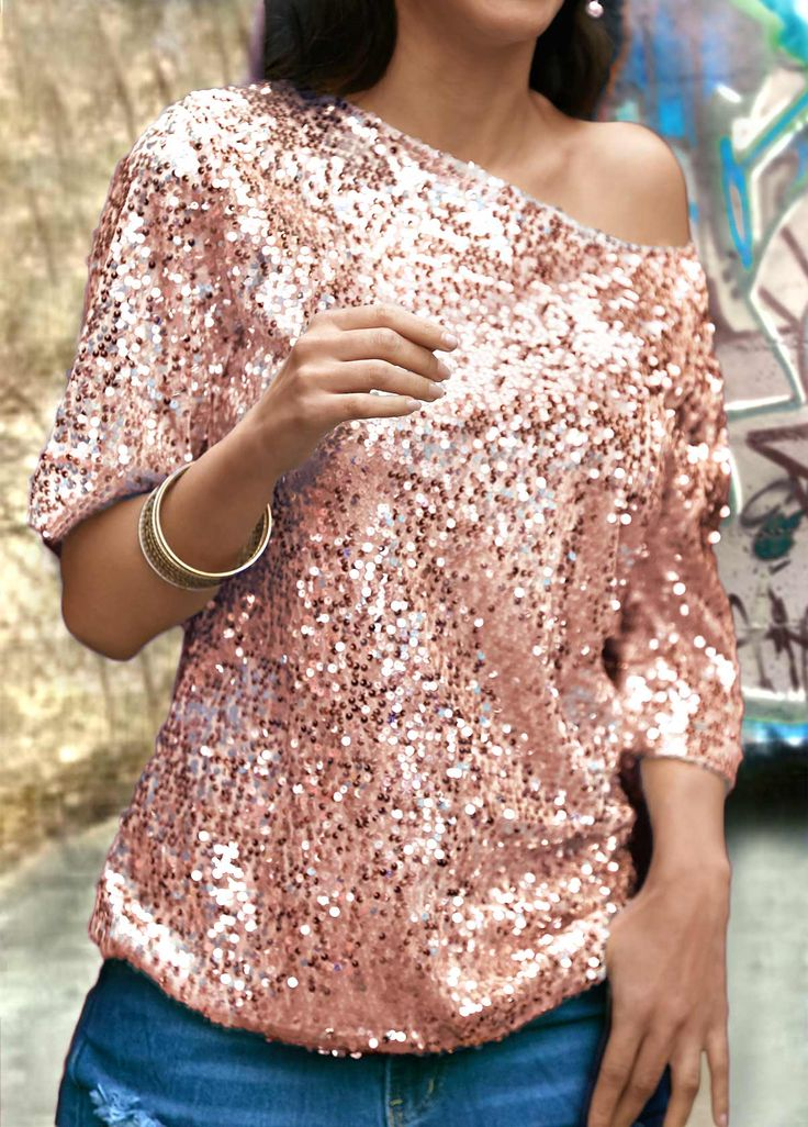 Half Sleeve Sequins Decorated Rose Pink T Shirt, better service and free shipping worldwide at rosewe.com.